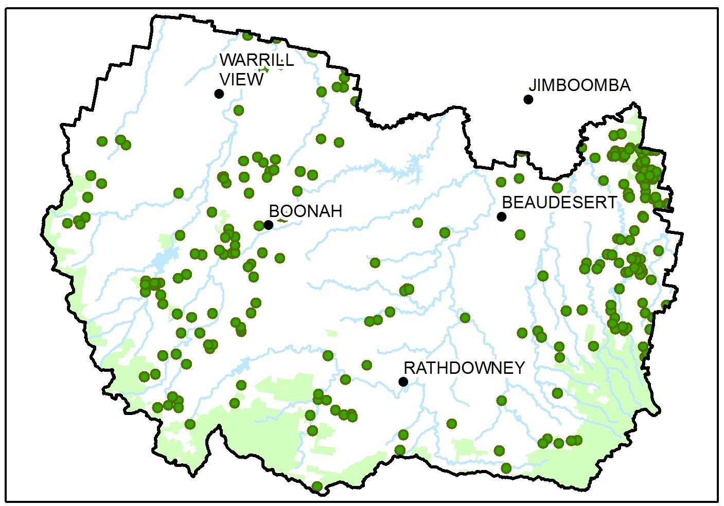 Land for Wildlife Map Scenic Rim Hotspots